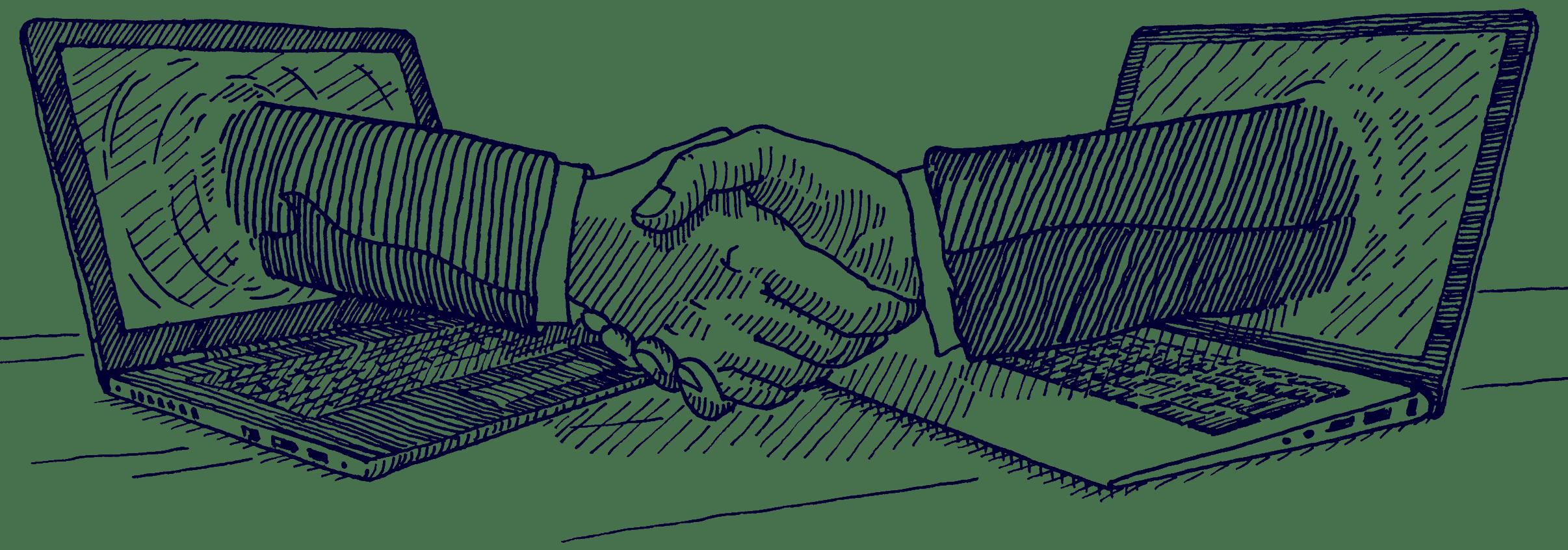 Computer Handshake | Haslinger / Nagele, Illustration: Karlheinz Wasserbacher