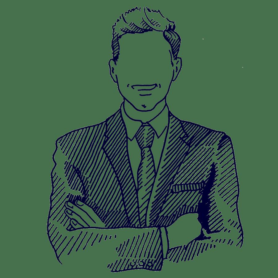 Portrait Mann anonym | Haslinger / Nagele, Illustration: Karlheinz Wasserbacher