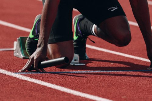 Staffelläufer am Start