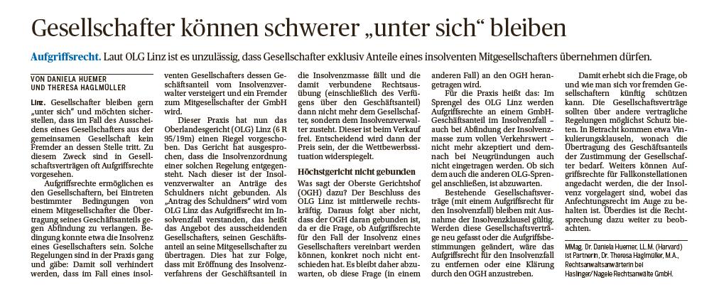 Abbildung des Beitrags in der Tageszeitung Die Presse