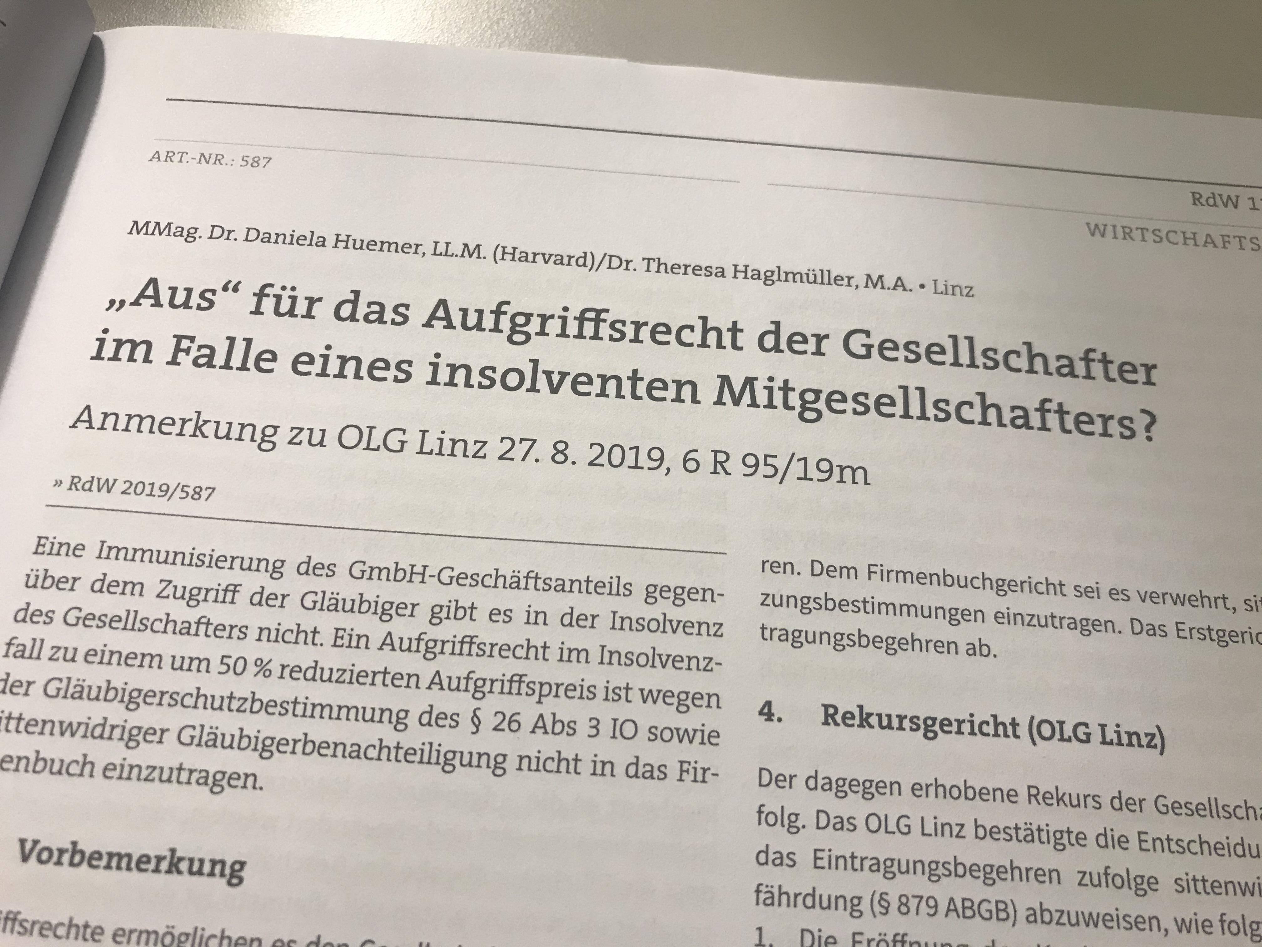 Bild der ersten Seite des Beitrags von Huemer und Haglmüller