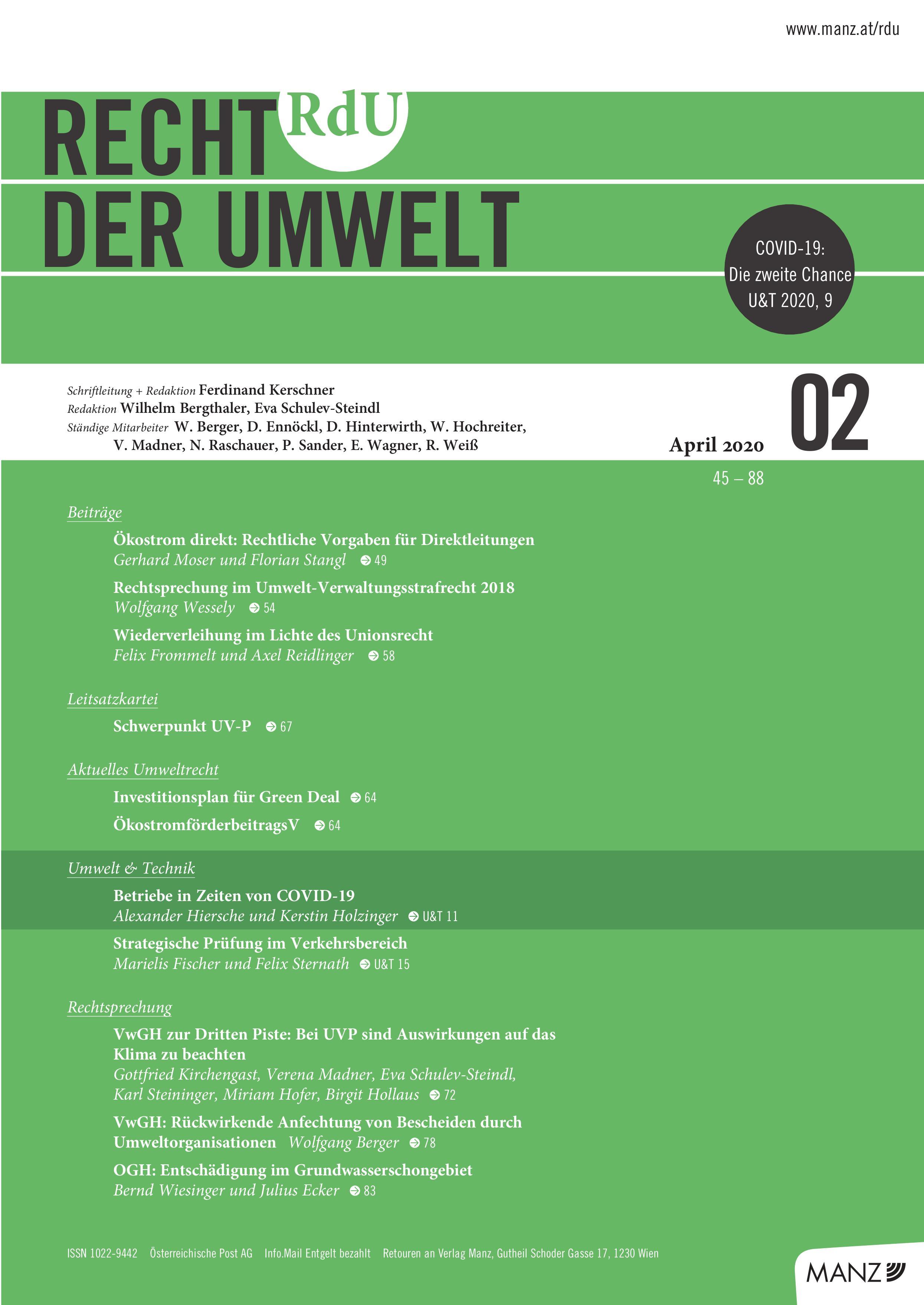 Cover Recht der Umwelt 02/2020