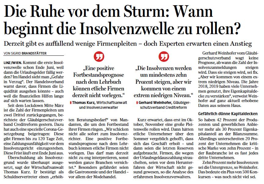 """Kopie des Beitrags in den OÖN """"Die Ruhe vor dem Sturm: Wann beginnt die Insolvenzwelle zu rollen?"""""""