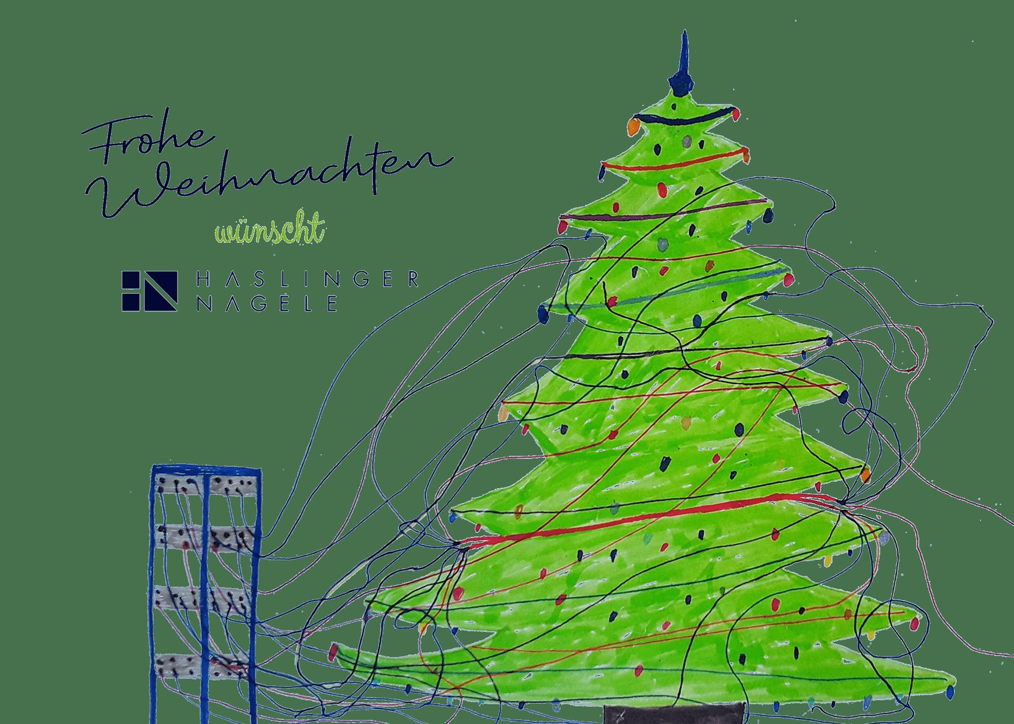 Frohe Weihnachten wünscht Haslinger / Nagele. Illustration: Barbara Plak