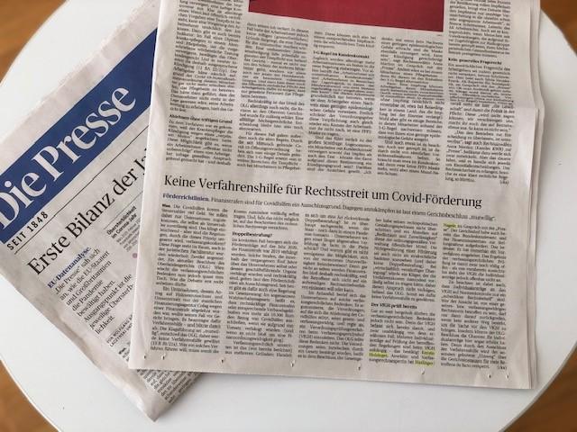 Fotografie des in der Tageszeitung Die Presse erschienenen Beitrags